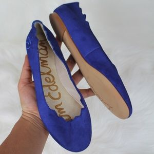 Sam Edelman Scalloped Blue Suede Leather Flats